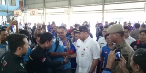 Bupati Tangerang, A Zaki Iskandar, dalam peringatan Hari Buruh.(hms)