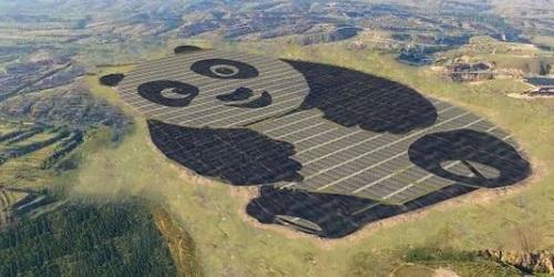 Hamparan panel yang Berbentuk panda raksasa.(USA Today)