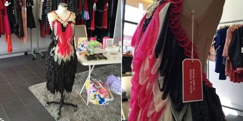 Detail dari samping gaun kondom yang dijual di mal(Cosmopolitan)