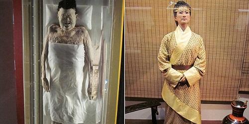 Jasad yang utuh & patung lilin Lady Dai.(Newsbison)