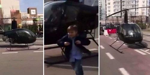 Helikopter saat mengantar anak Andrey Palchevskii.(thehook.news)
